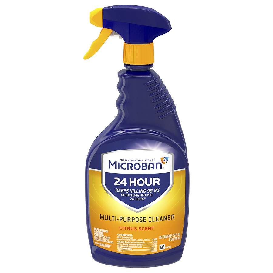 Microban 24 Hour Multi Purpose Cleaner And Disinfectant Spray Citrus Walgreens