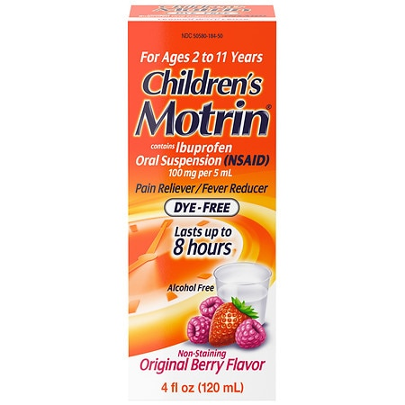 Children's Motrin Ibuprofen Oral Suspension Dye-Free Berry Flavor Liquid