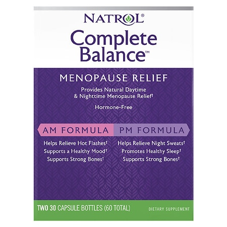 Natrol Complete Balance For Menopause AM & PM Dietary Supplement Capsules - 30 ea x 2 pack