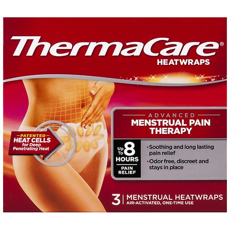 ThermaCare Advanced Menstrual Pain Therapy Heatwraps, Up to 8 Hours of Pain Relief - 3 Ea