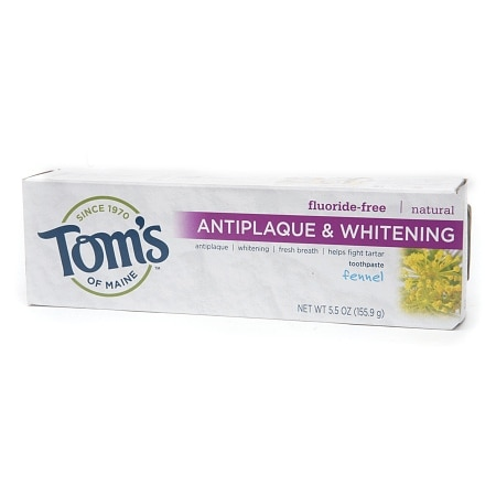 Tom's of Maine Antiplaque & Whitening, Fluoride-Free Natural Toothpaste Fennel - 5.5 oz.