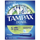 Tampax Pearl Tampons with Pearl Plastic Applicator Fresh Scent, Super