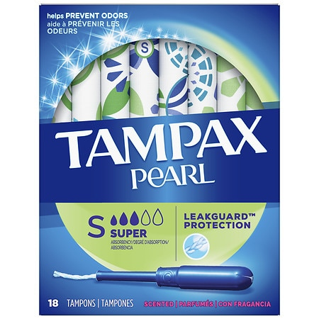 Tampax Pearl Tampons with Pearl Plastic Applicator Fresh Scent, Super, 18 ea