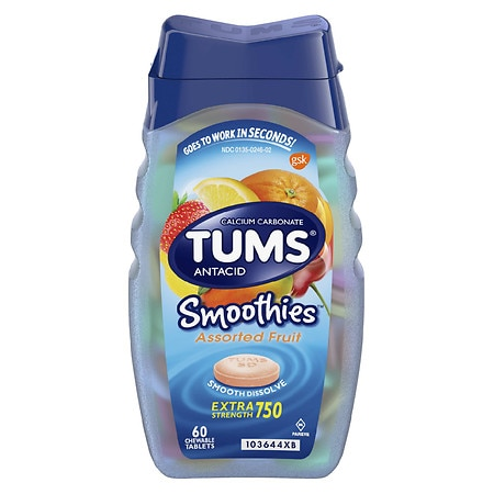 Tums Extra Strength Antacid Chewable Tablets Assorted Fruit - 60 ea