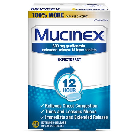 Mucinex Expectorant, 600mg Extended-Release Bi-Layer Tablets - 40 ea