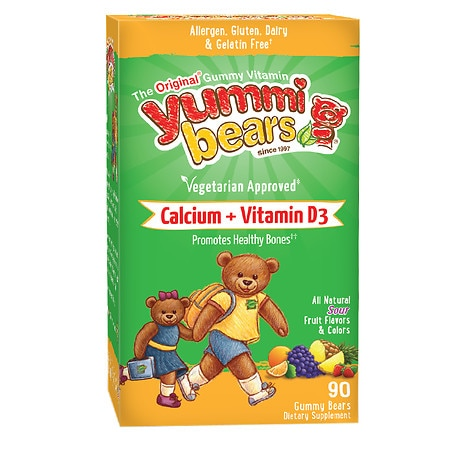 Yummi Bears Vegetarian Calcium + Vitamin D3, Sour Gummy Bears - 90 ea