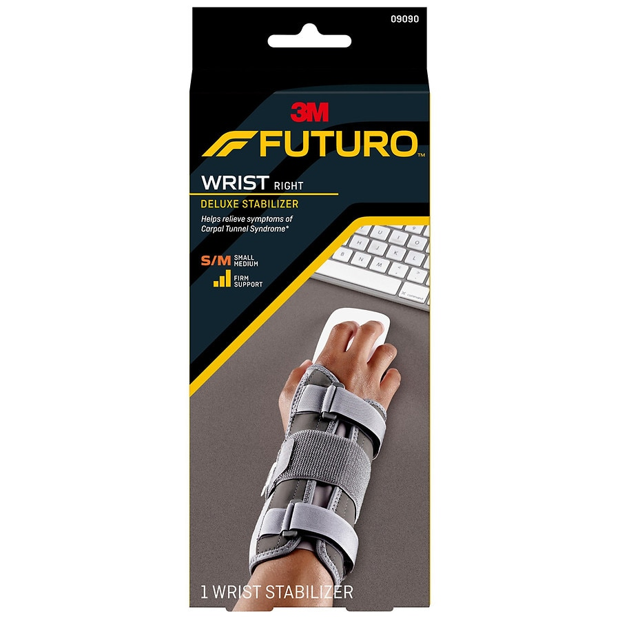 FUTURO Deluxe Wrist Stabilizer, Right Hand Gray, Gray