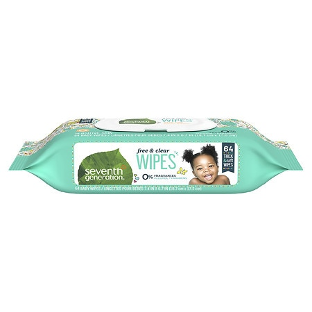 Seventh Generation Thick n' Strong Baby Wipes with Flip Top Dispenser Free & Clear