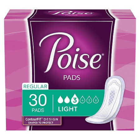 Poise Ultra Thins Incontinence Pads, Light Absorbency Regular Length