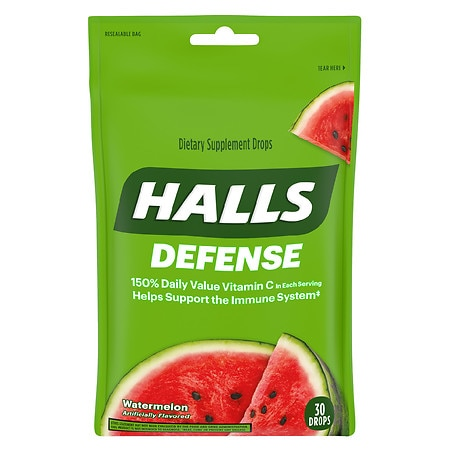 Halls Defense Vitamin C Supplement Drops Watermelon - 30 ea