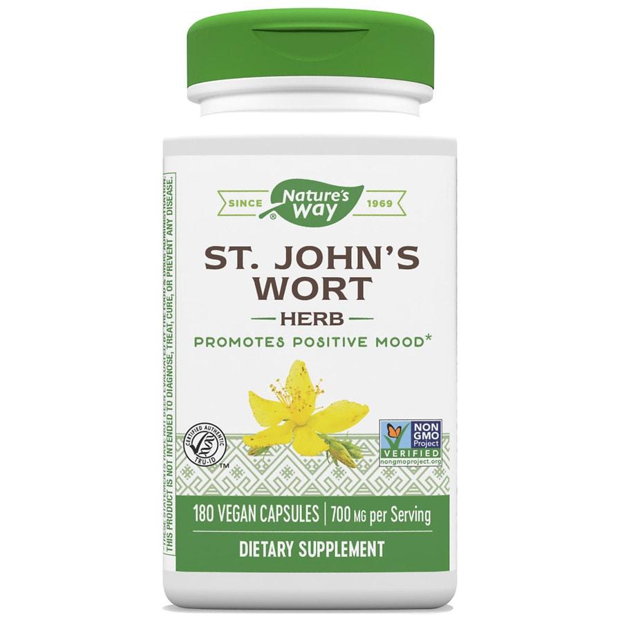 Nature\'s Way St. John\'s Wort Herb 350 mg Dietary Supplement Capsules ...
