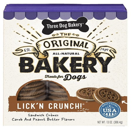 Three Dog Bakery Lick'n Crunch, All-Natural Sandwich Cookie Treats for Dogs Peanut Butter