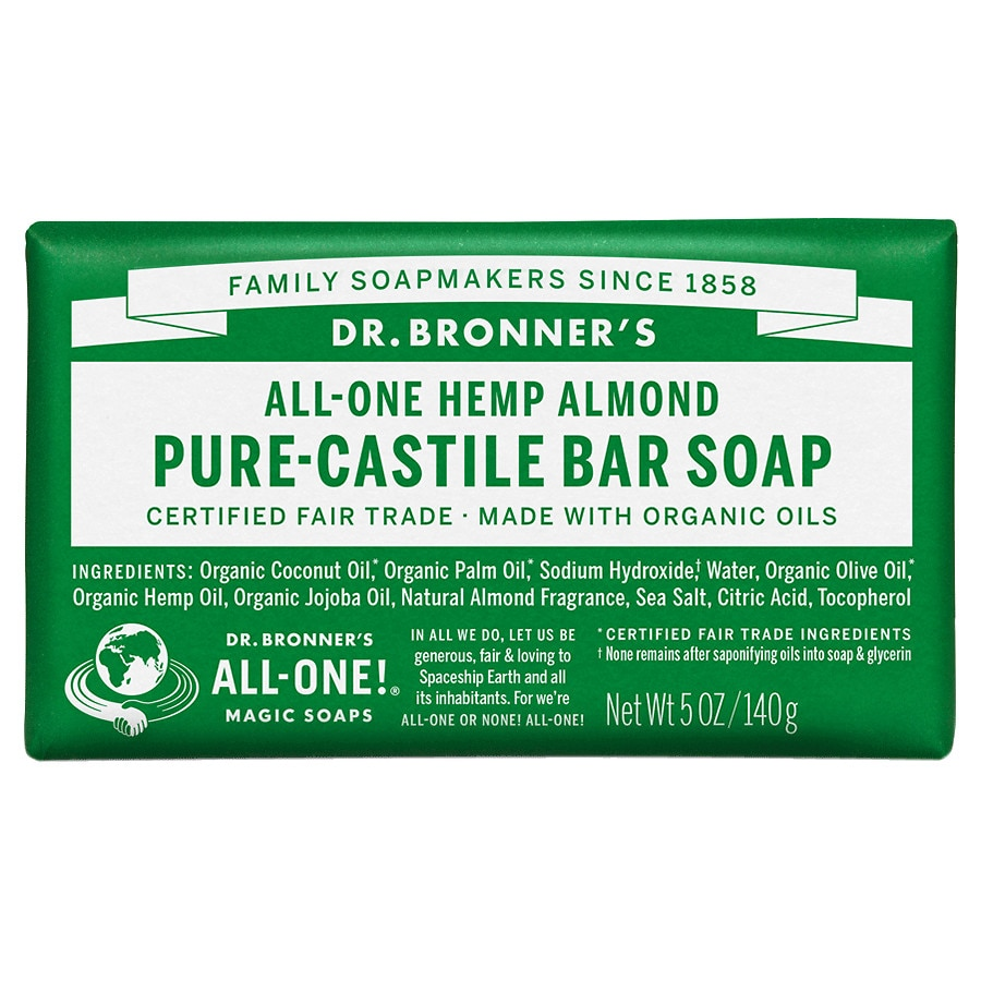 Dr  Bronner's All-One Hemp Pure-Castile Soap Bar Almond