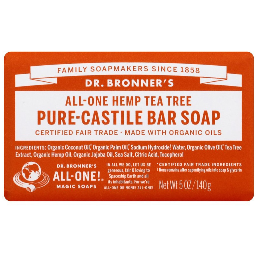 Dr  Bronner's All-One Hemp Pure-Castile Bar Soap Tea Tree