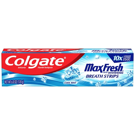 Image of Colgate MaxFresh Whitening Fluoride Toothpaste with Mini Breath Strips Mint - 6 oz.