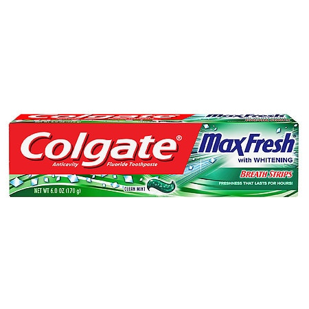 Image of Colgate MaxFresh Whitening Fluoride Toothpaste with Mini Breath Strips Clean Mint - 6 oz.