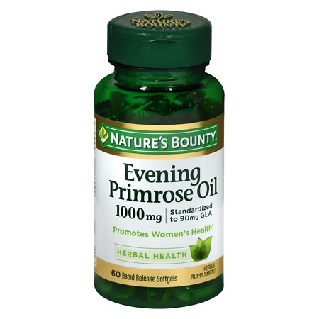 Nature's Bounty Standardized GLA 9% Evening Primrose Oil 1000 mg/90 mg Herbal Supplement Rapid R - 60 ea