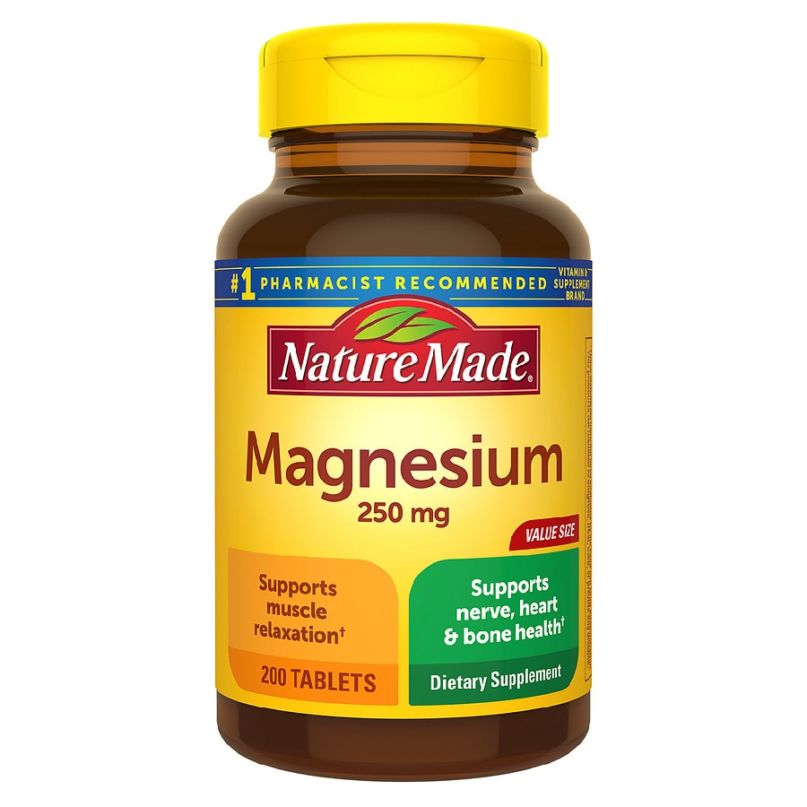 Nature Made Magnesium 250 mg Dietary Supplement Tablets ...
