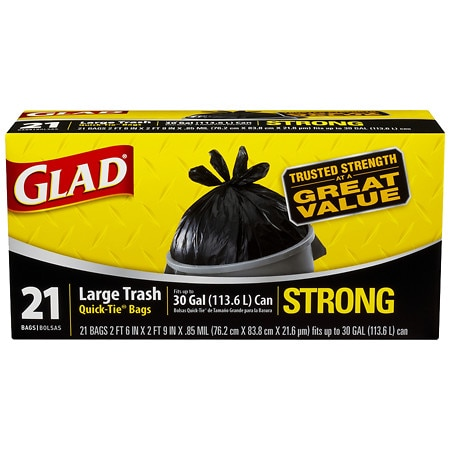 Glad Strong Quick-tie Large Trash Bags 30 Gallon 21 Ea